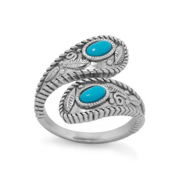 Sterling Silver Turquoise Stone Wrap Ring