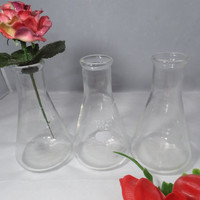Vintage Chemistry Glass - Pyrex Beakers - Pyrex Glass Beakers - Lab Glass - Chemistry Lab Glassware - Industrial Decor - Science Decor