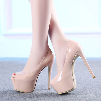 Brand Platform Shoes Woman Peep Toe 15CM High Heels Pumps Sexy Nude Women Shoes High Heels Fashion Wedding Bridal Shoes B-0186