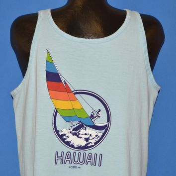80s Hawaii Rainbow Catamaran Tank Top t-shirt Large