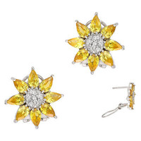 CZ Collections Yellow Flower Earrings