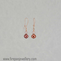 Marsala freshwater pearl with peach freshwater pearl earrings; rose gold filled, lovely Mother of the Bride or Groom gift, burgundy, dainty