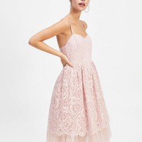 PETITE Pale Pink Blush Lace Tulle Dress | Miss Selfridge