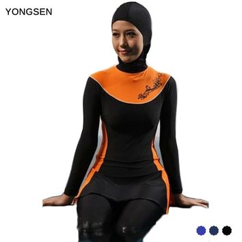 YONGSE Newest Push Up Islamic Plus Size Muslim Swimwear Modest Arabic Clothing For Muslim Women Full Cover Islamic Swimsuit