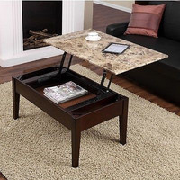 Faux Marble Lift Top Coffee Table Solid Wood with Storage Tray Wood Espresso