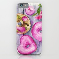 Doughnuts, Watercolor Illustration  iPhone & iPod Case by Koma Art