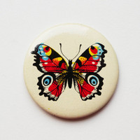 Vintage (4 cm) 1.57'' butterfly insect bug cartoon brooch badge token clasp pinion pin button cordon band medallion pinback nature animal