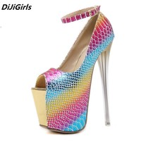 DiJiGirls Brand Extreme heels women 18 cm pumps high platform ankle strap open toe high-heeled shoes womens club lover stiletto