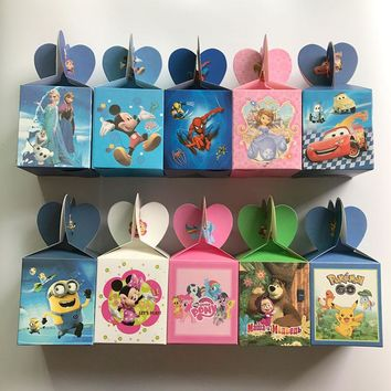 6pcs Elsa and Anna Mickey Candy Box Kids Birthday Party Decoration Wedding Favors Paper Gift Boxes Baby Shower Supplies