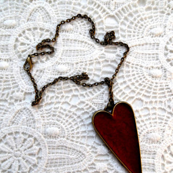 Heart/soft red felt/fabric/bronze necklace/pendant