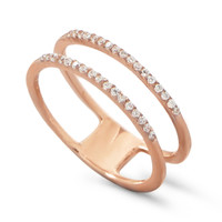 18 Karat Rose Gold Plated Double Row Cubic Zirconia Ring
