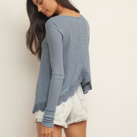 Lace Hem Split Back Tee