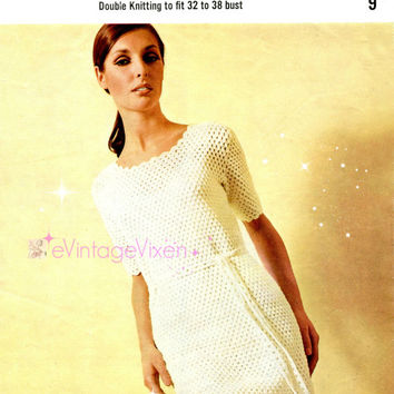 SO EASY Crochet Dress 1960s Vintage Crochet Pattern Petal Edge Trim Simple and Gorgeous Summer Crochet Dress e Vintage Vixen-evintagevixen