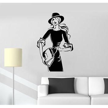 Vinyl Wall Decal Shopping Bags Hats Store Lady Fashion Stickers (3246ig)