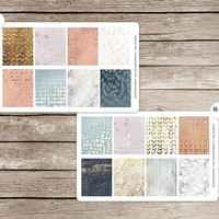 Metallic Textures Full Boxes Vinyl Planner Stickers for use with EC Vertical Planners