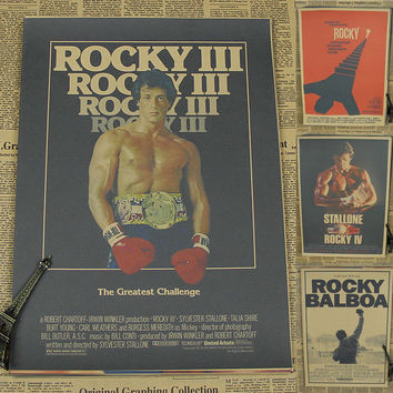 Retro Rocky Movie Poster Brown Paper Drawing Core Hanging Picture Comic Painting Vintage Kraft Paper Home Art Decorative Posters