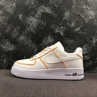Nike Air Force 1 Af1 Low White/ Yellow Canvas Shoes - Best Online Sale