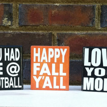 You Had Me at Football  Distressed Mini Sign Wood Block Home Fall Decor Tailgate