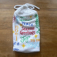 Seasons Greetings Hanging Kitchen Towel With Hand Knit Topper and Ties