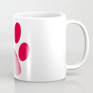 Red and White Gradient Paw Coffee Mug by 11penguingirl