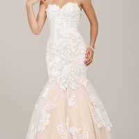 Jovani Strapless Long Embroidered Dress