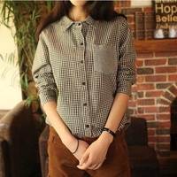 Checkered Long-Sleeve Collared Blouse With Pocket