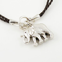 Silver Elephant Brown Leather Necklace