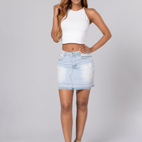 Cutting Class Denim Miniskirt - Light Blue