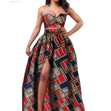 2017 African Clothes Dashiki for Women Bazin Riche Crop Top and Skirt Set 2 Piece Traditional African Clothing  Plus Size WY506