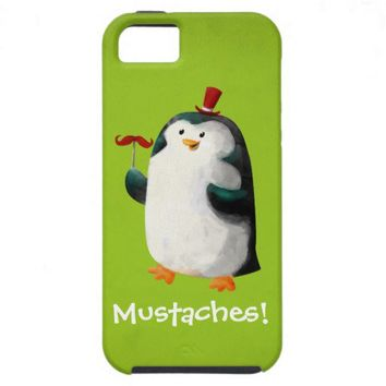 Cute Penguin with Mustaches iPhone 5 Cases from Zazzle.com