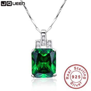 High Quality Emerald Necklace Jewelry 6.95ct Pendant Necklace Vintage Silver 925 Sterling chain jewelry accessories best friend