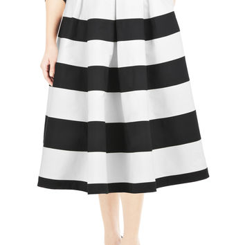 Banded stripe cotton poplin skirt