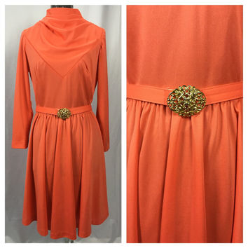 ELEGANT NELLY DON 1970s Coral Orange Dress With Matching Belt