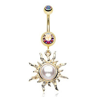 316L, 14GA, Golden Blazing Sun Belly Button Ring