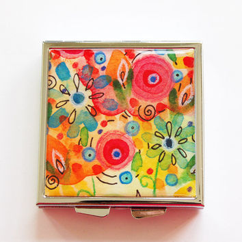 Pill Case, Pill Box, Square Pill box, Square Pill case, 4 Sections,Lauren Alexander, flowers, abstract flowers, floral, bright colors (4077)