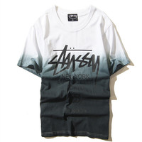 """Stussy"" Fashion Casual Street Wind Male Female Gradient Color Letter Print Round Neck Short Sleeve Couple Cotton T-shirt"