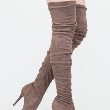 Stylish Slouch Pointy Thigh-High Boots