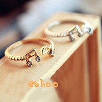 Min Order $18 New Fashion Crystal Musical Sign Rings For Woman