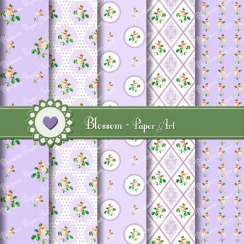 Violet Flowers Digital Scrapbooking Pack - Decoupage - Collage Sheet - Digital Paper - Printable - 1611