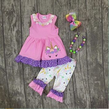 lavender pink unicorn sleeveless baby girls Summer boutique clothing unicorn capris with matching accessories