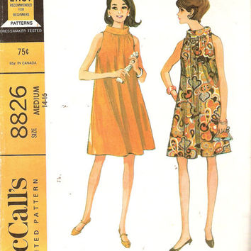 1960s Dress Pattern bust 34 - 36 Roll Collar Tent Dress Pattern Trapeeze Dress Vintage Sewing Pattern McCall's 8826