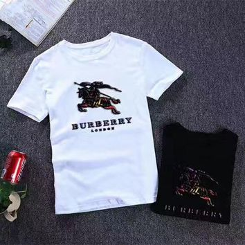 """Burberry"" Men Casual Fashion War Horse Letter Pattern Print Short Sleeve T-shirt Top Tee"