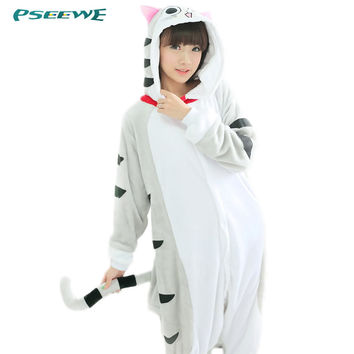 Adult Pajamas Cosplay Animal Nightwear Cat Clothing Flannel Hooded Pajamas Cartoon Cute Animal Onesuits Sleepwear For Women Men