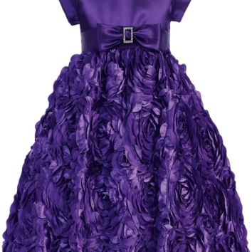 Purple Floral Ribbon Girls Dress w. Cap Sleeve Satin Bodice 2T-12