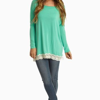 Mint Green Lace Trim Long Sleeve Top