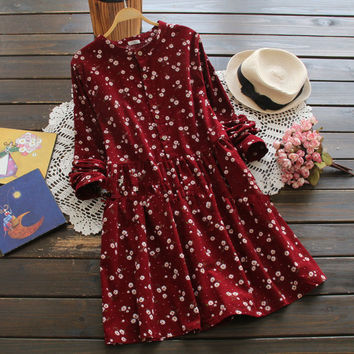 Sweet Winter Warm Soft Comfortable Floral Print Dress
