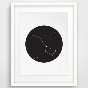 Big Dipper, Ursa Major, Constellation Art, Stars, Black and White Wall Print, Printable Artwork, Stars Decor, Black Stars