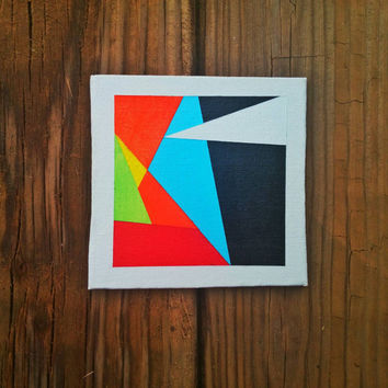 Modern Geometric Painting Original OOAK Tiny Canvas Art Abstract Contemporary Wall Art Modern Home Decor