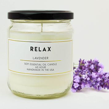 Relax Lavender Scented Soy Jar Candles
