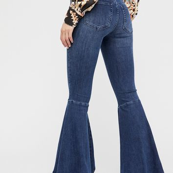 Free People Ruffle Denim Flare